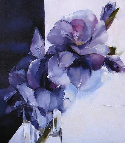 Painting Of Blue Flowers Flower Oil