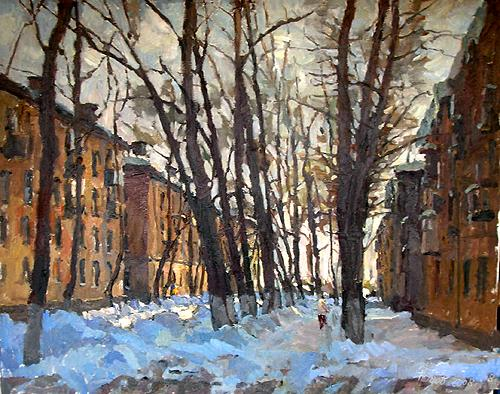 Winter Street abstract art - oil painting