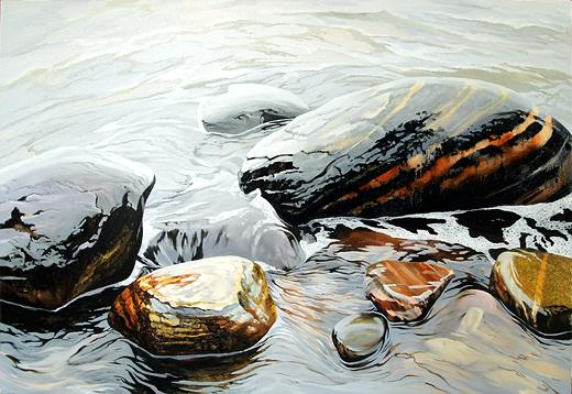 Stones of the White Sea seascape - oil painting