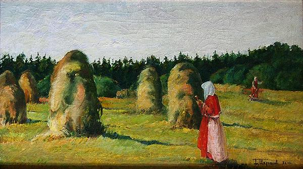 Haymaking genre scene - oil painting haymaking landscape peasants haystacks