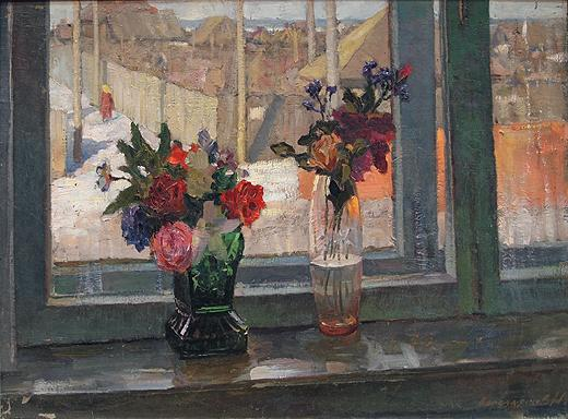 Flowers on the Window Sill flower - oil painting