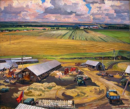 Harvest Time social realism - oil painting