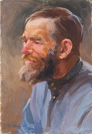 Study of a Head portrait or figure - oil painting