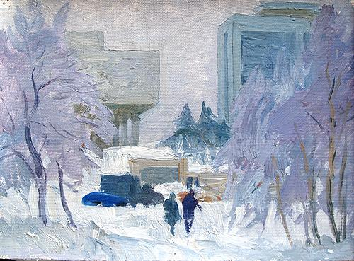 Frosty Day cityscape - oil painting