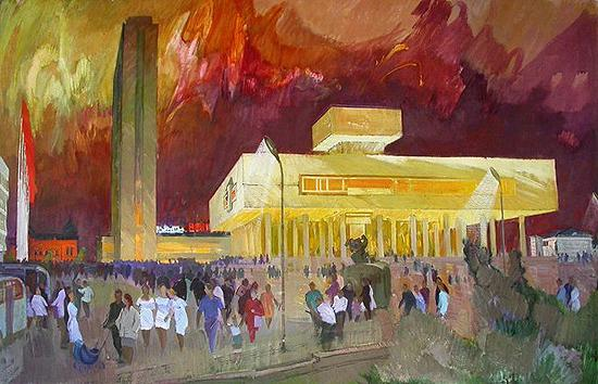 Fireworks over Lenin Memorial cityscape - oil painting