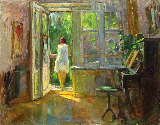 On the Balcony genre scene - oil painting