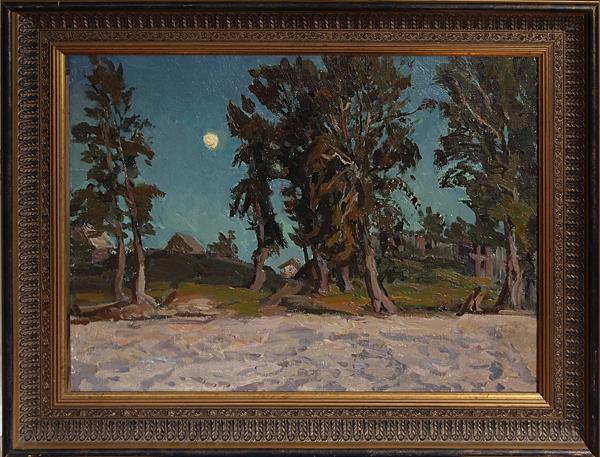 Moonlit Night night landscape - oil painting landscape night Moon riverside beach countryside