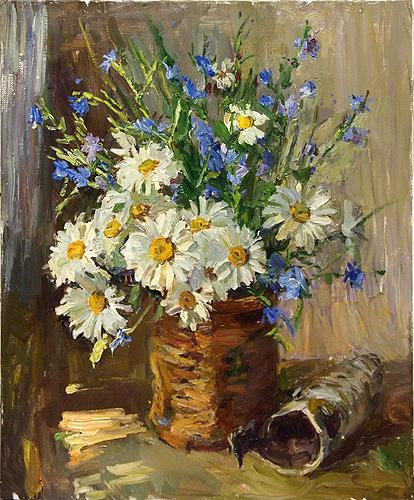 Flowers in the Basket flower - oil painting