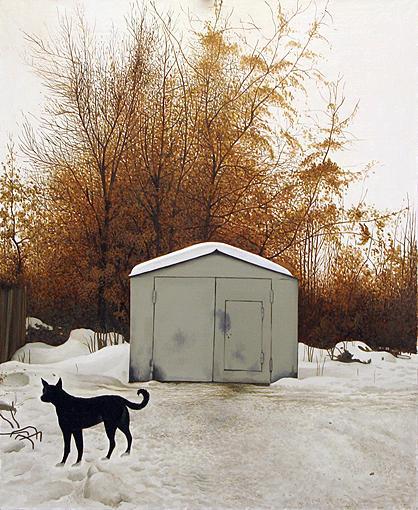 Garage animals - oil painting