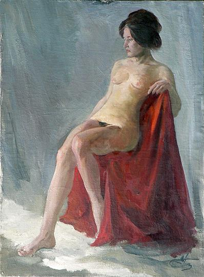 Study of a Naked Woman nude art - oil painting