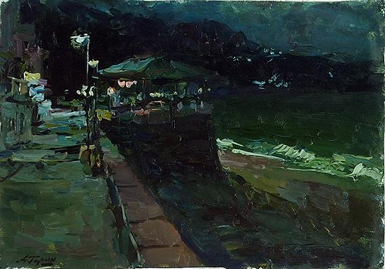 Quay at Night night landscape - oil painting