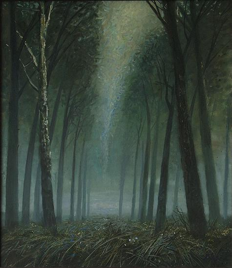 Grass. Fog. Alley night landscape - oil painting