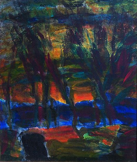 Evening abstract landscape - oil painting