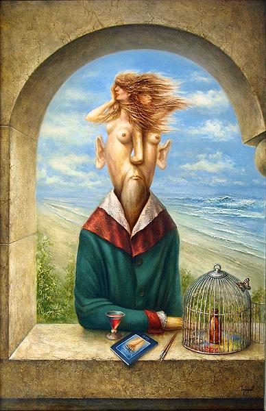 At Belvedere surrealist art - oil painting