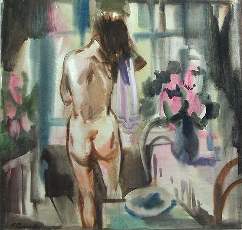 Naked Model in the Interior nude art - watercolor drawing