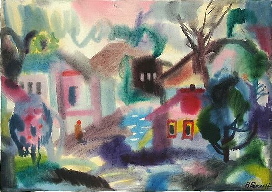 Town in the South cityscape - watercolor drawing