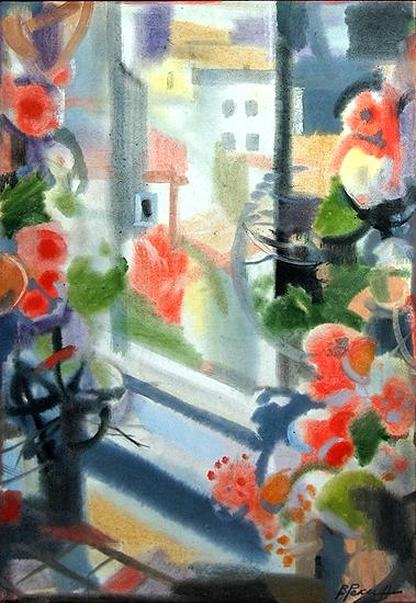 Interior with a Window flower - watercolor drawing