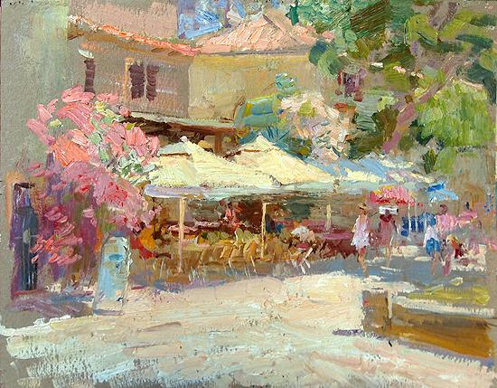 Street Cafes cityscape - oil painting