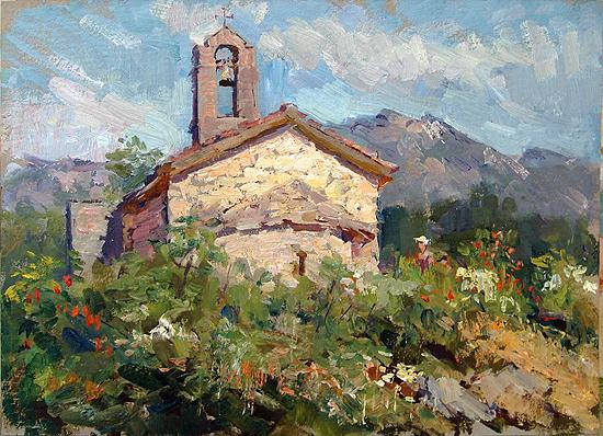 Old Temple. Montenegro architecture - oil painting