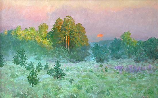 After the Thunder-Storm summer landscape - oil painting