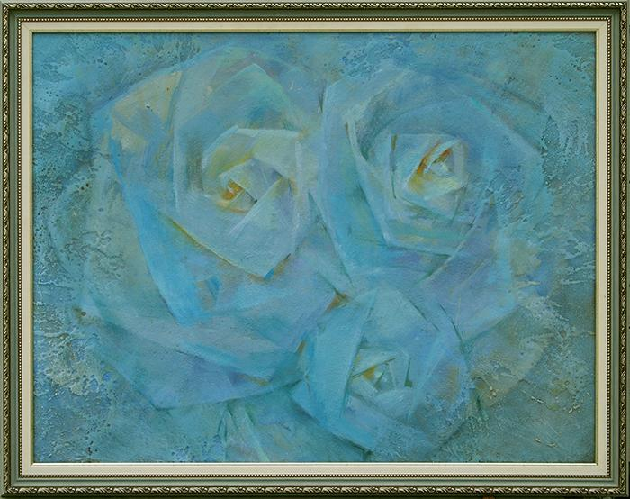 Presentiment Spring flower - oil painting flowers blue