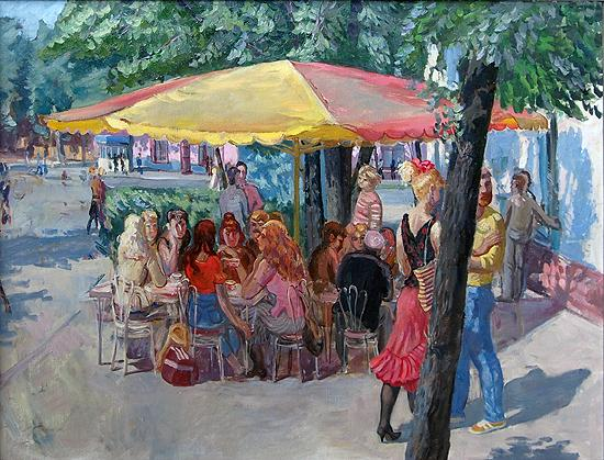City Cafe genre scene - oil painting