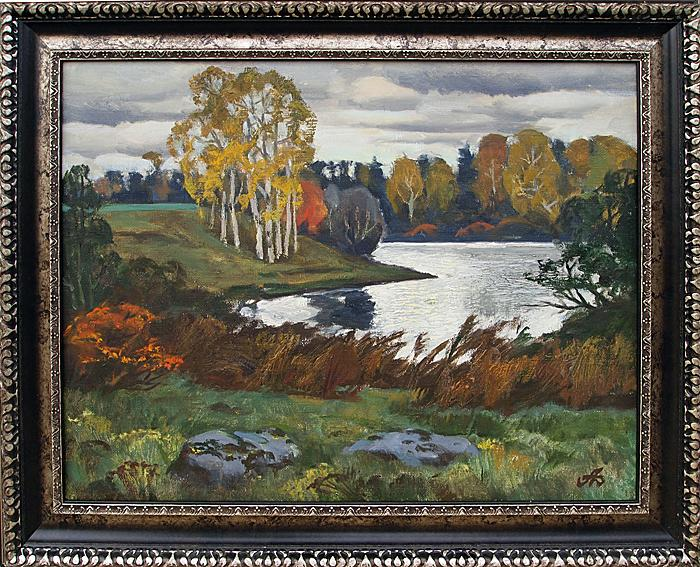 Autumn at the Lake autumn landscape - oil painting autumn lake landscape