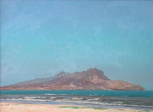 Gulf at San-Vicente Island seascape - oil painting