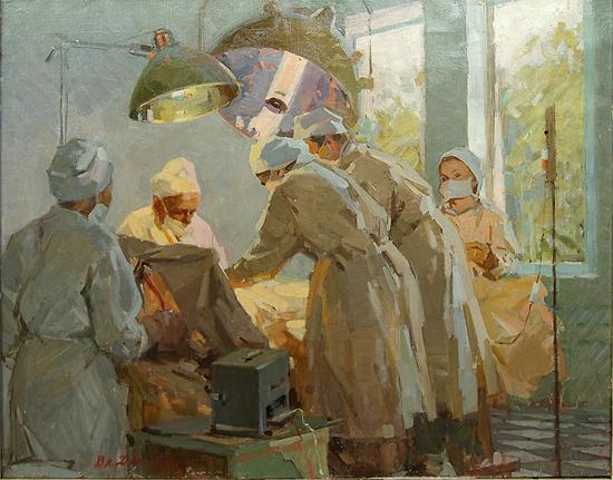 Operating story composition - oil painting