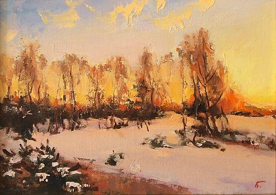 Winter Fire winter landscape - oil painting