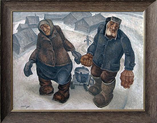 Oldmen genre scene - oil painting