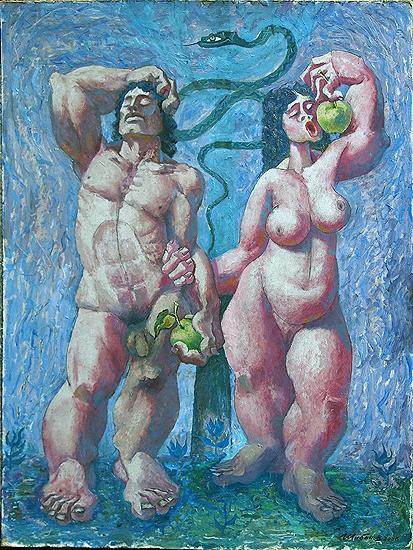 Adam and Eve story composition - oil painting