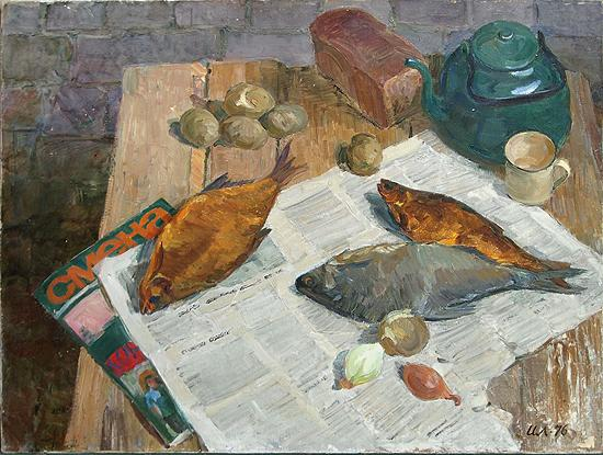 still-life newspaper fish kettle bread table social potatoes life