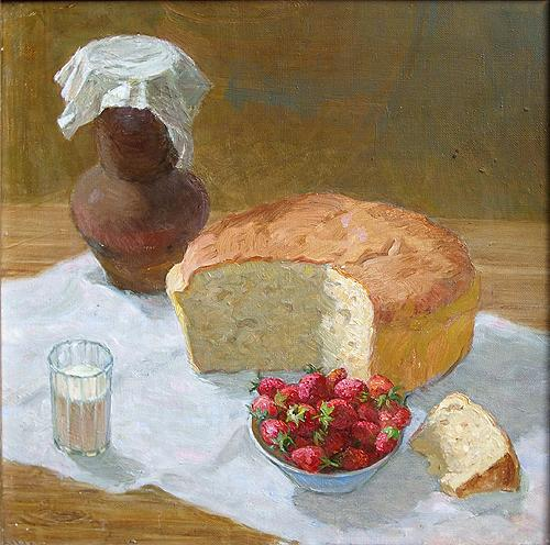 Still Life with Bread still life - oil painting