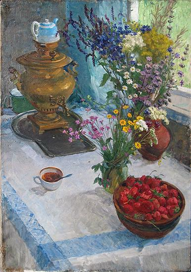 Still Life with Wild FLowers still life - oil painting