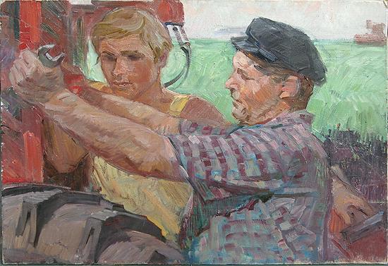 Комбайнер с помошником жанровая сцена - масло живопись соцреализм техника комбайн механизаторы