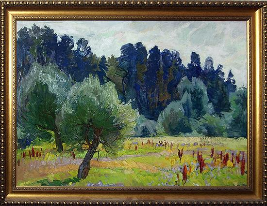 In the Meadows summer landscape - oil painting