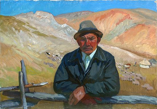 Shepherd portrait or figure - oil painting mountains