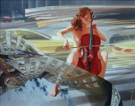 Music of the Streets nude art - oil painting