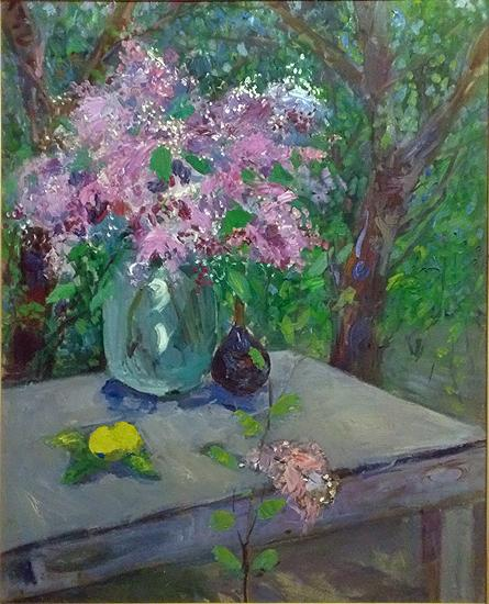Still Life. Lilac flower - oil painting