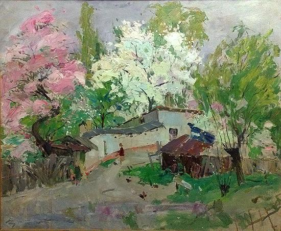 Flowers. Spring rural landscape - oil painting