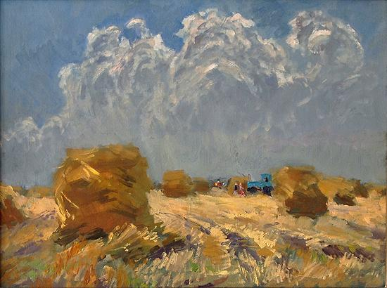Harvest Time industrial landscape - oil painting
