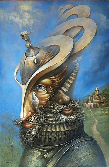 Don Quixote surrealist art - oil painting