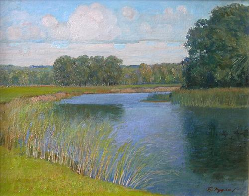 The Utka River summer landscape - oil painting