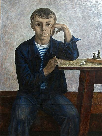 Boy in Blue portrait or figure -  painting