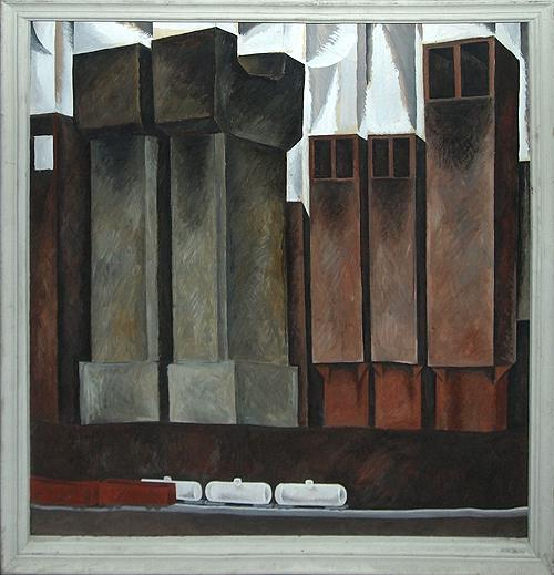 White Tank industrial landscape - tempera painting