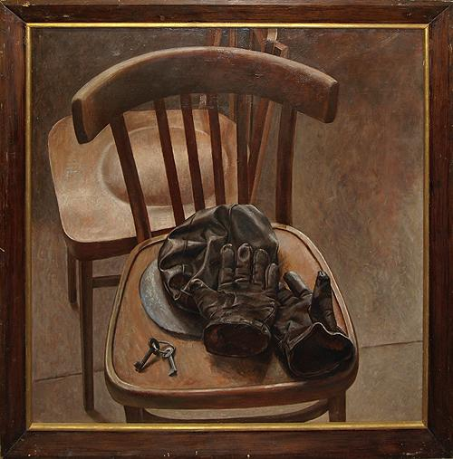 Chair and Gloves still life - oil painting