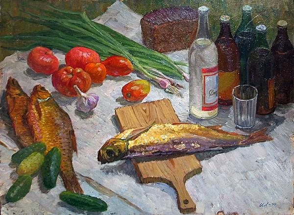 Breakfast on the Grass still life - oil painting