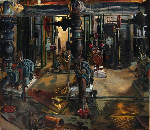 Boiler Room industrial landscape - oil painting pipes industrial social