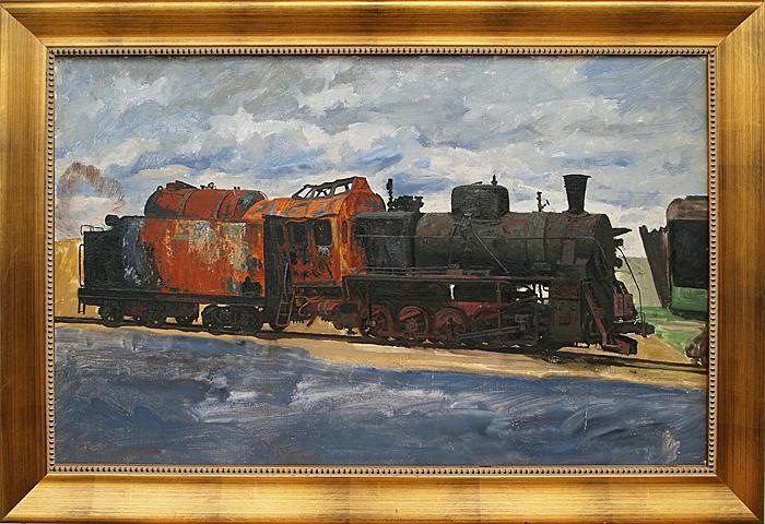 Steam Engine industrial landscape - oil painting steam machines